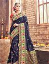 image of Mesmeric Navy Blue Color Festive Wear Traditional Saree In Banarasi Silk Fabric