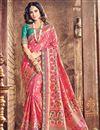 image of Glamorous Designer Saree In Pink Color Banarasi Silk Fabric