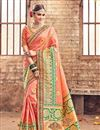 image of Spectacular Peach Color Party Wear Saree With Designer Blouse