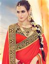 photo of Impressive Red And Black Color Festive Wear Designer Saree In Silk Fabric
