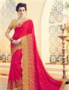 image of Tempting Pink Color Designer Saree With Embroidery Work