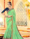 image of Beautifully Embroidered Green Color Designer Saree With Unstitched Banglori Silk Blouse