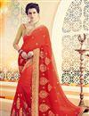 image of Ravishing Red Color Festive Wear Designer Saree In Silk Fabric