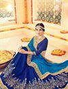 photo of Delightful Blue Color Designer  Silk Saree With Unstitched Banglori Silk Blouse