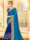 image of Delightful Blue Color Designer  Silk Saree With Unstitched Banglori Silk Blouse