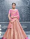 image of Designer Sangeet Wear Banarasi Silk Peach Color Lehenga Choli