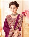 photo of Silk Festive Wear Purple Color Saree With Fancy Print Work