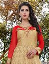 photo of Party Wear Cream Color Georgette Designer Floor Length Embellished Anarkali Suit