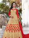 image of Party Wear Cream Color Georgette Designer Floor Length Embellished Anarkali Suit