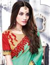photo of Festive Wear Sea Green Color Designer Saree In Chiffon Fabric With Embroidery Work