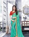 image of Festive Wear Sea Green Color Designer Saree In Chiffon Fabric With Embroidery Work