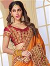 photo of Designer Wedding Wear Fancy Orange Color Silk Fabric Plain Saree with Embroidered Lace Border