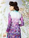 photo of Dazzling Purple Color Designer Suit In Crepe Fabric With Embroidery Work And Print Designs
