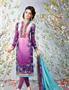 image of Dazzling Purple Color Designer Suit In Crepe Fabric With Embroidery Work And Print Designs