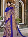 image of Traditional Party Wear Blue  Color Banarasi Silk Style Saree