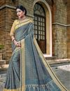 image of Designer Grey Color Banarasi Silk Style Traditional Saree