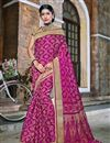 image of Traditional Designer Magenta Color Banarasi Silk Style Fancy Saree