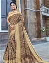 image of Traditional Beige Color Banarasi Silk Style Festive Wear Fancy Saree