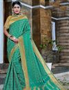 image of Fancy Turquoise Color Banarasi Silk Style Designer Traditional Saree