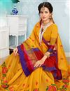 photo of Thread Work Embroidered Function Wear Traditional Saree