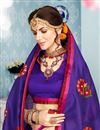 photo of Thread Work Embroidered Cotton Dark Purple Fancy Saree