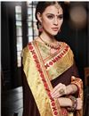 photo of Fancy Embroidered Designer Art Silk Brown Saree