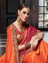 photo of Designer Art Silk Orange Fancy Embroidered Saree