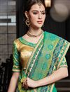 photo of Wedding Wear Embroidered Fancy Green Saree In Art Silk