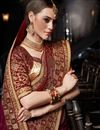 photo of Function Wear Maroon Embellished Saree In Art Silk