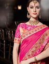 photo of Eid Special Rani Wedding Function Wear Saree With Embroidered Border