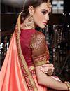 photo of Eid Special Party Wear Fancy Art Silk Designer Saree In Salmon