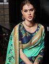 photo of Designer Art Silk Cyan Fancy Wedding Wear Saree