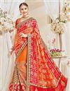 image of Designer Wedding Function Wear Orange Color Net Fabric Fancy Embroidered Saree