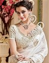 photo of Wedding Wear Fancy Off White Color Silk And Net Fabric Designer Embellished Saree