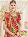 photo of Fancy Sangeet Function Wear Green Color Silk Fabric Designer Embroidered Saree