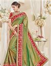 image of Fancy Sangeet Function Wear Green Color Silk Fabric Designer Embroidered Saree