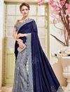 image of Designer Reception Wear Grey And Blue Color Velvet And Net Fabric Fancy Embellished Saree