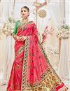 image of Designer Pink Color Silk Fabric Wedding Wear Fancy Embellished Saree