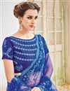 photo of Designer Wedding Function Wear Blue Color Net Fabric Fancy Embroidered Saree