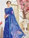 image of Designer Wedding Function Wear Blue Color Net Fabric Fancy Embroidered Saree