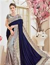 image of Fancy Sangeet Function Wear Grey And Blue Color Velvet And Net Fabric Designer Embroidered Saree
