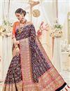image of Designer Navy Blue Color Silk Fabric Wedding Wear Fancy Embellished Saree