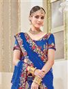 photo of Fancy Sangeet Function Wear Blue Color Net Fabric Designer Embroidered Saree