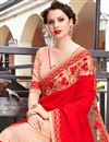 photo of Resham Embroidered Red And Peach Fancy Wedding Wear Saree In Art Silk And Georgette