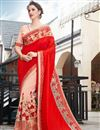 image of Resham Embroidered Red And Peach Fancy Wedding Wear Saree In Art Silk And Georgette