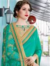 photo of Art Silk And Georgette Stone Work Embellished Designer Wedding Saree In Beige And Teal
