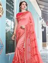 image of Art Silk And Net Peach Resham Embroidered Function Wear Fancy Saree
