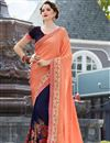 image of Stone Work Embroidered Navy Blue And Peach Fancy Wedding Wear Saree In Art Silk And Georgette