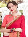 photo of Resham Embroidered Georgette Crimson And Peach Function Wear Fancy Saree