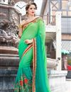 image of Stone Work Embellished Wedding Wear Saree In Green Chiffon